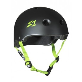 S1 LIFER HELMET - BLACK MATTE GREEN STRAPS